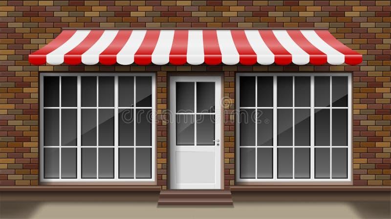与遮篷的砖小3d商店前面门面模板 外部倒空商店或精品店与大窗口 空白的大模型  向量例证
