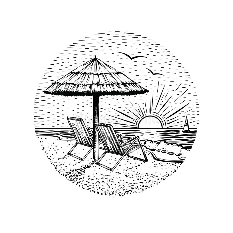 与遮阳伞和两把椅子的海滩风景 圆的海假期象征、卡片或者设计元素 库存例证