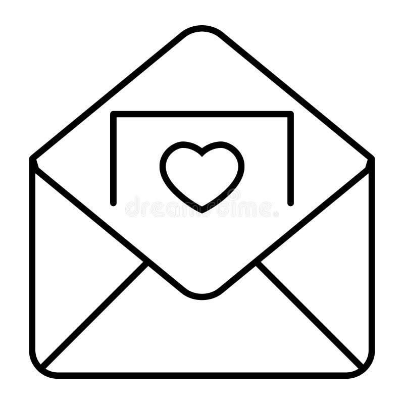 与邀请卡片稀薄的线象的信封 信件在白色隔绝的传染媒介例证 与心脏的图片
