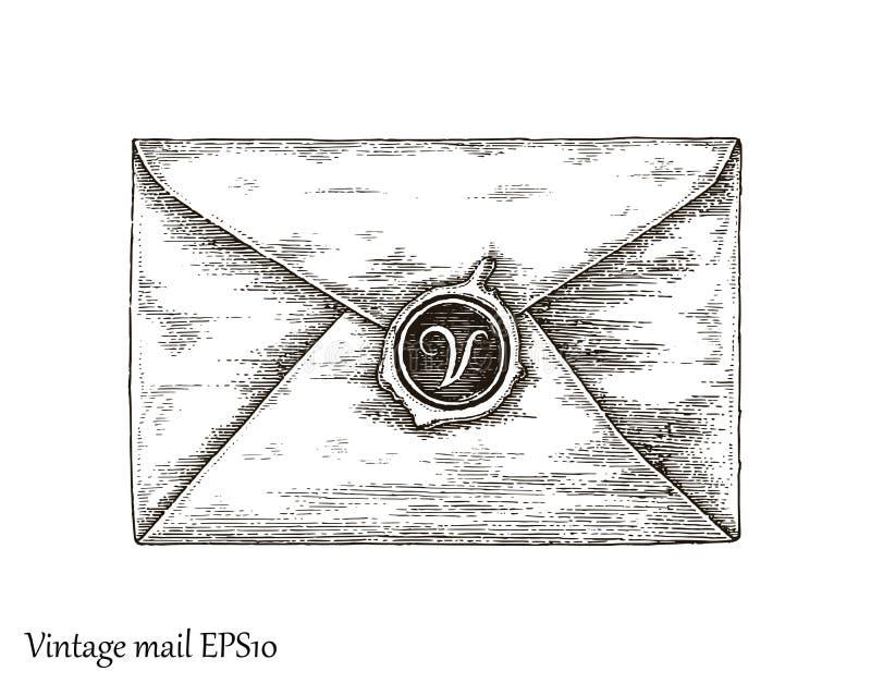 与邮件,邮件手图画葡萄酒样式的通信 皇族释放例证