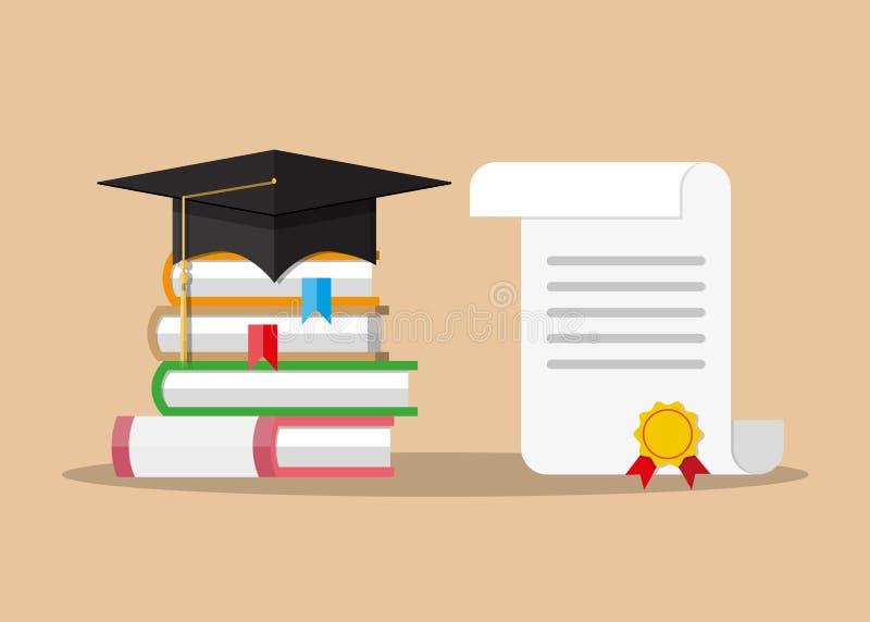 与邮票、书和毕业盖帽的纸文凭 向量例证