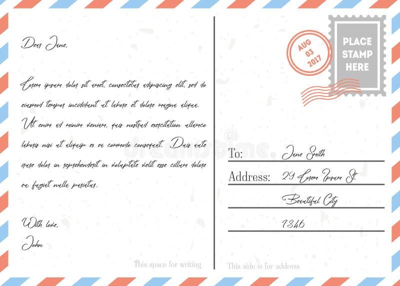 与邮票和和标记的明信片葡萄酒 向量 库存例证