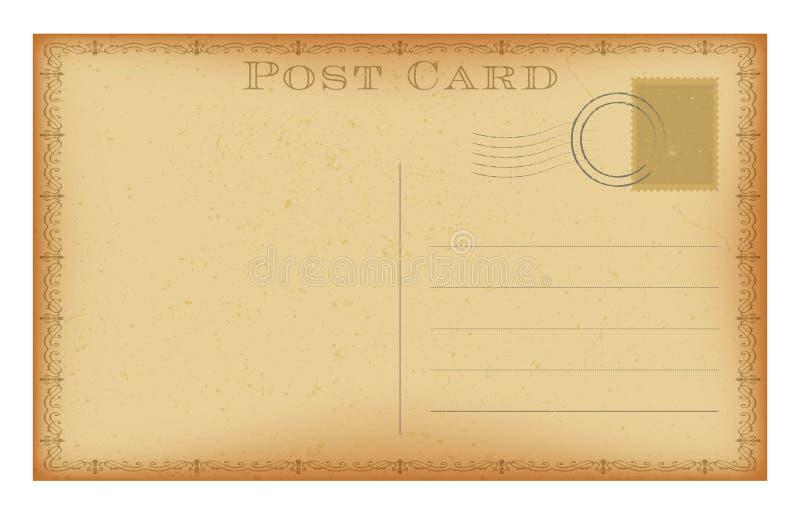 与邮票的传染媒介老明信片 难看的东西纸葡萄酒明信片 库存例证