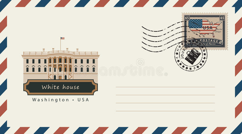 与邮票的信封与白宫 库存例证