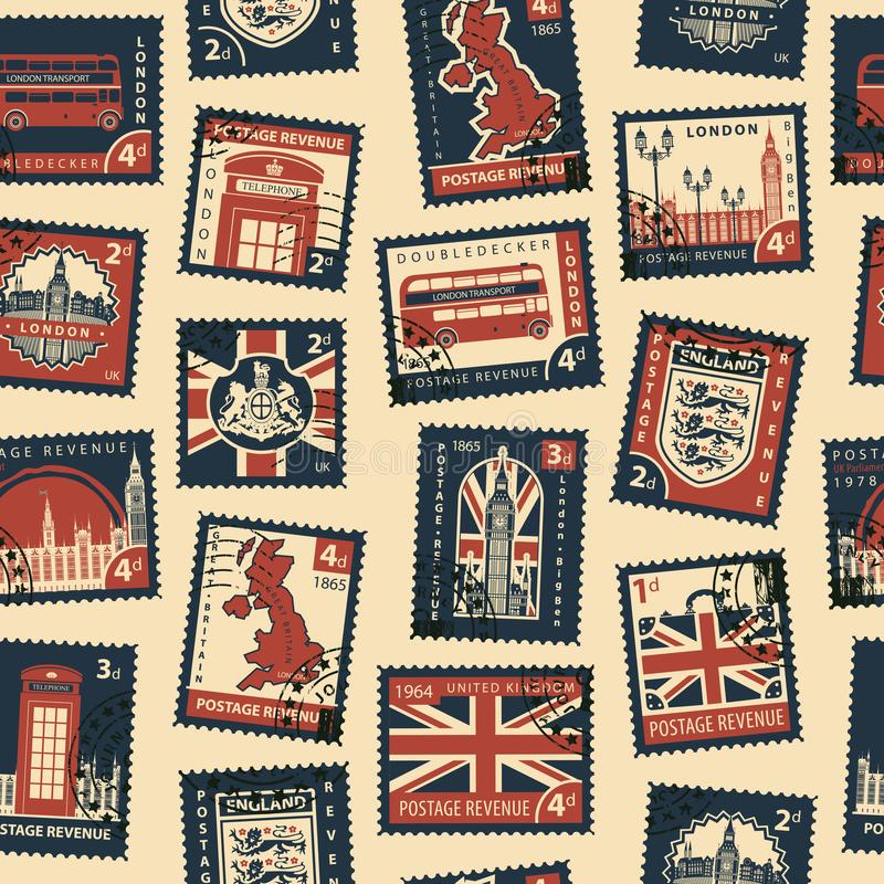 与邮票的无缝的样式在英国题材 向量例证