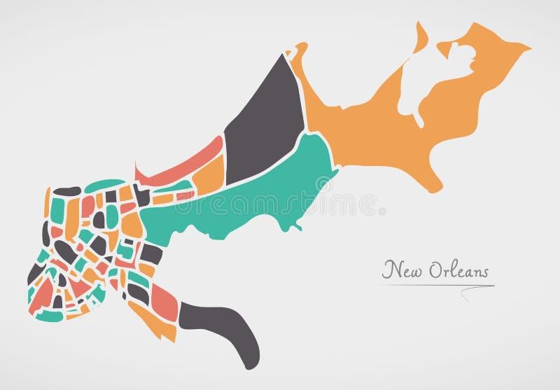 与邻里和现代圆嘘新奥尔良路易斯安那地图 向量例证