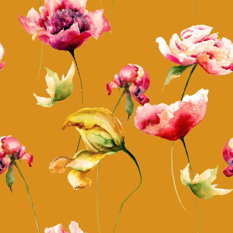 与郁金香、鸦片和牡丹的花卉无缝的样式开花 库存例证