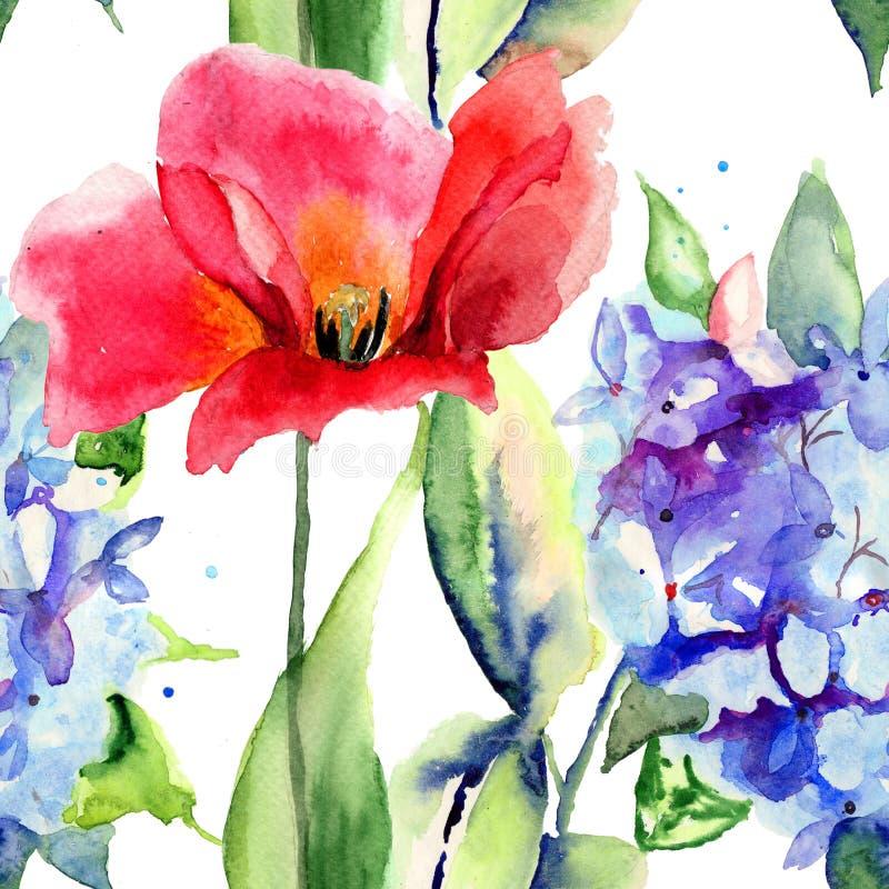 与郁金香和八仙花属花的无缝的墙纸 库存例证
