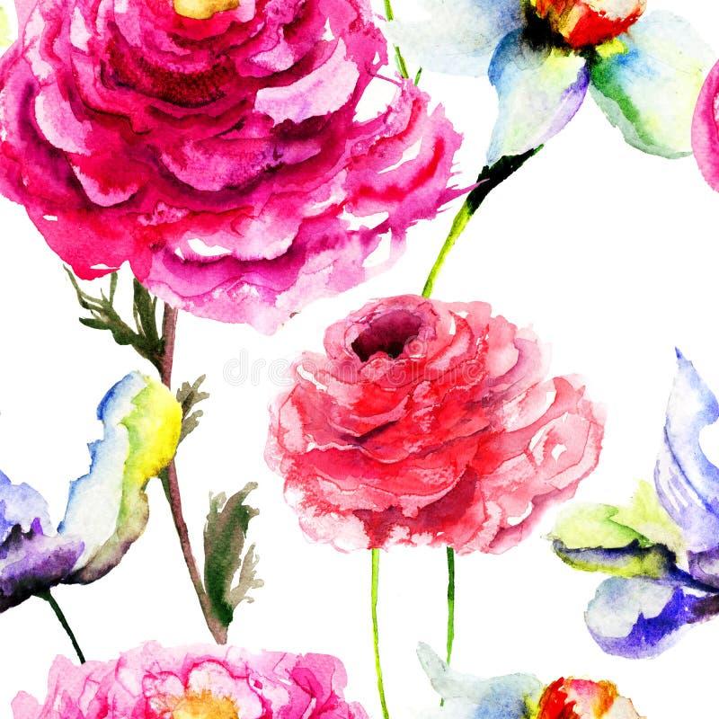 与郁金香和牡丹花的无缝的样式 向量例证