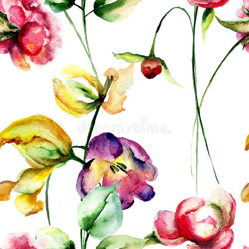 与郁金香和牡丹花的无缝的样式 皇族释放例证