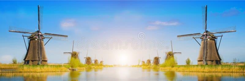与郁金香和航空器磨房的不可思议的全景春天风景 免版税图库摄影
