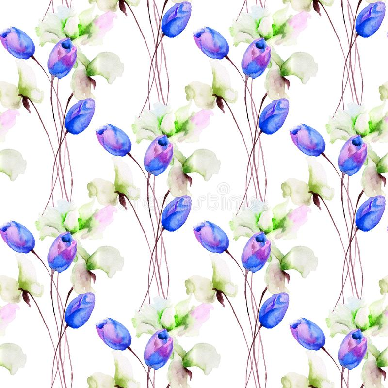 与郁金香和香豌豆花的无缝的样式开花 向量例证