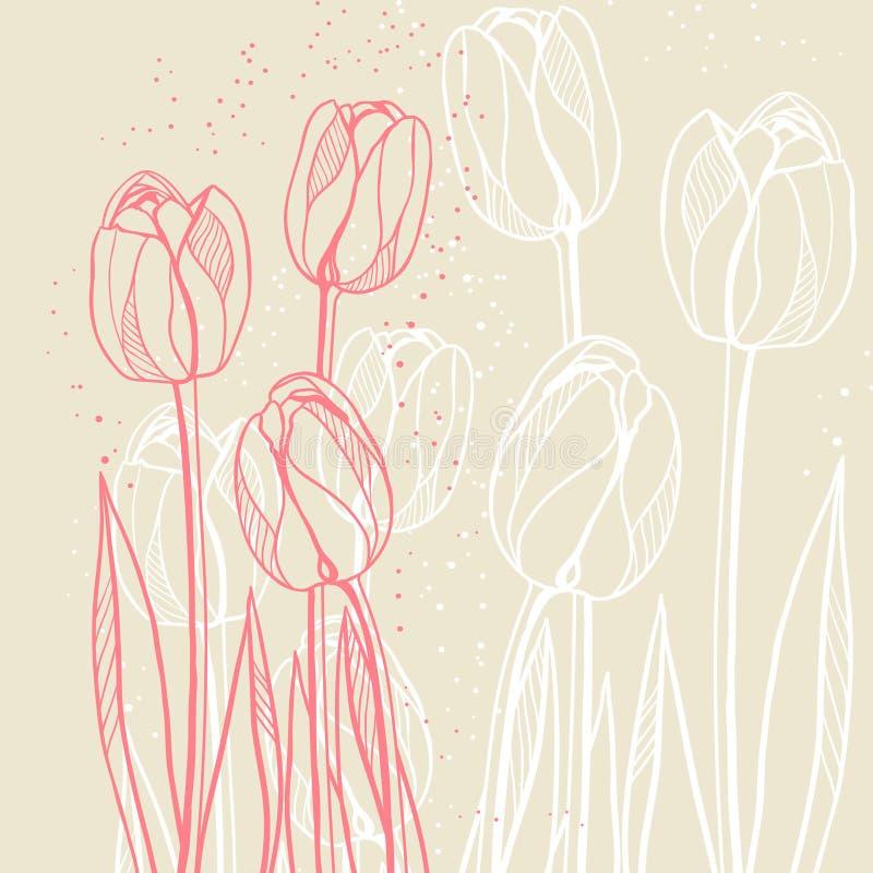 与郁金香的抽象花卉例证在灰棕色 库存例证