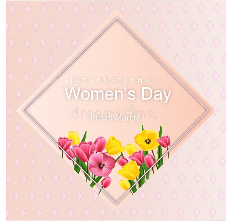 与郁金香的抽象花卉贺卡-国际妇女s天- 3月8日与纸被切开的框架花的假日背景 皇族释放例证