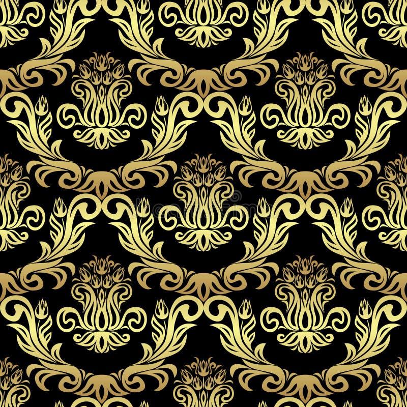 与郁金香的无缝的减速火箭的锦缎墙纸开花-在黑色的金子 向量例证