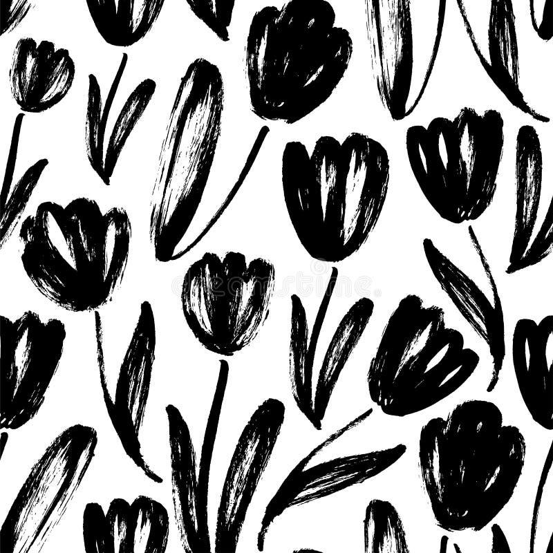 与郁金香的无缝的样式 摘要传染媒介自然纹理 皇族释放例证