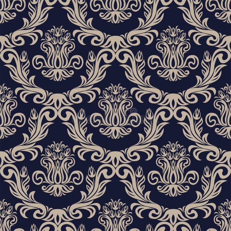 与郁金香花的无缝的装饰锦缎墙纸 向量例证
