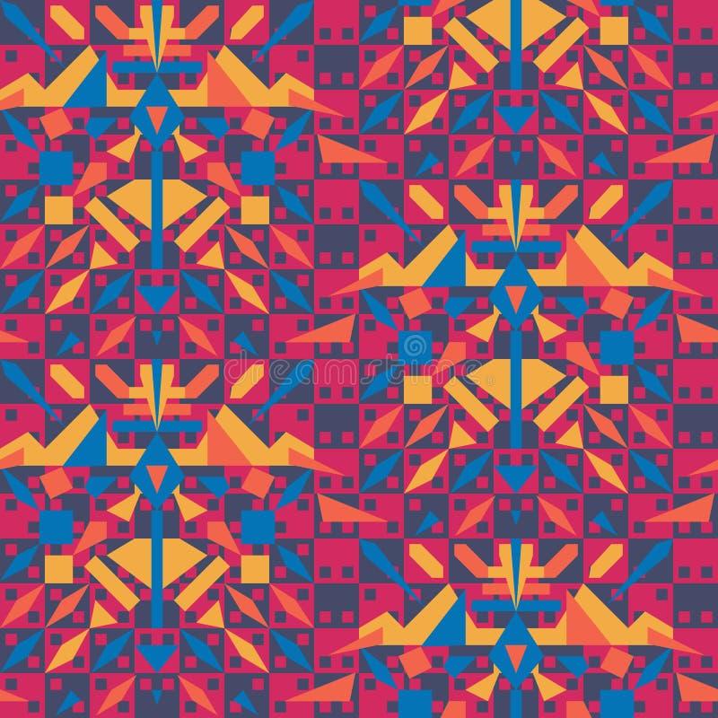 与部族元素的充满活力的错觉无缝的几何传染媒介样式 表面样式设计 库存例证