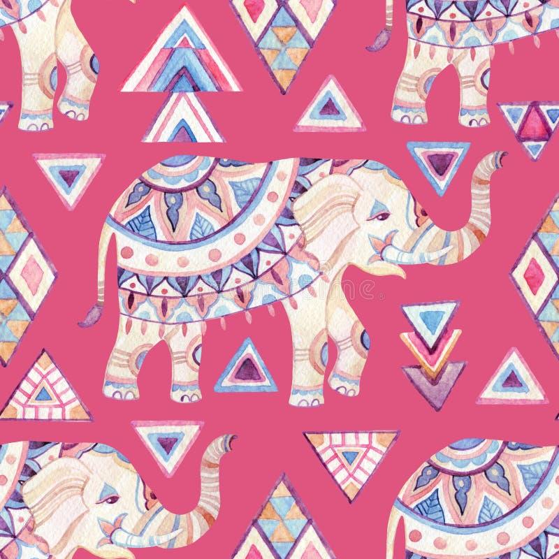 与部族元素无缝的样式的印地安华丽大象水彩 皇族释放例证