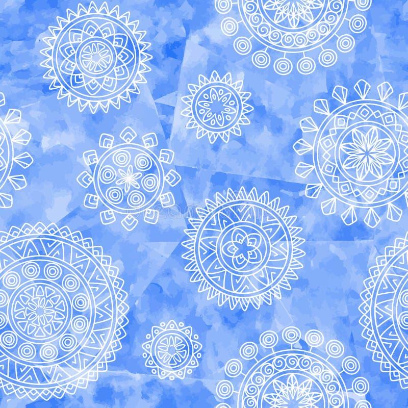 与部族元素的Boho种族无缝的样式 在蓝色水彩背景的手拉的几何坛场 库存例证