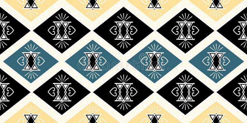 与部族手拉的非洲玛雅人古老主题蜡染布背景传染媒介例证的纺织品无缝的样式准备好时尚 库存例证
