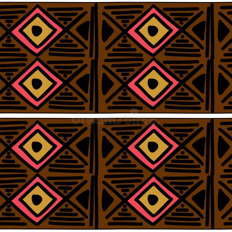 与部族背景传染媒介纹理的Ikat几何样式 在阿兹台克标志的无缝的镶边主题 手拉种族与 库存例证