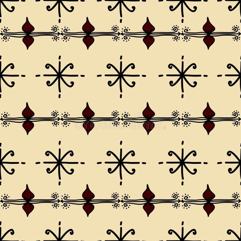 与部族背景传染媒介纹理的Ikat几何样式 在阿兹台克标志的无缝的镶边主题 手拉种族与 向量例证