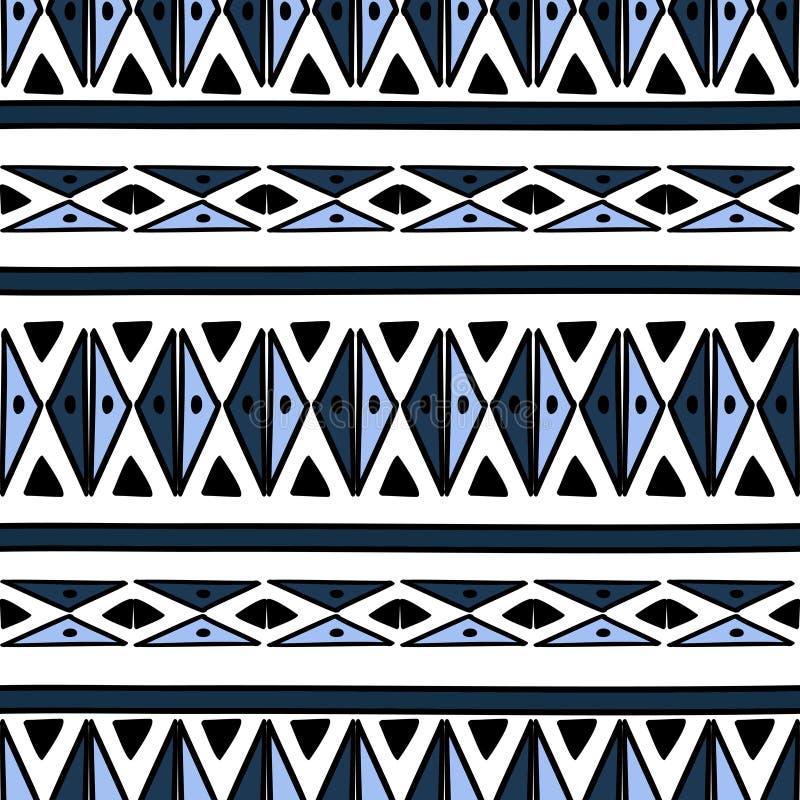 与部族背景传染媒介纹理的Ikat几何样式 在阿兹台克标志的无缝的镶边主题 手拉种族与 皇族释放例证