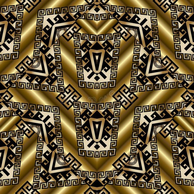 与部族装饰品的种族金3d无缝的样式 库存例证