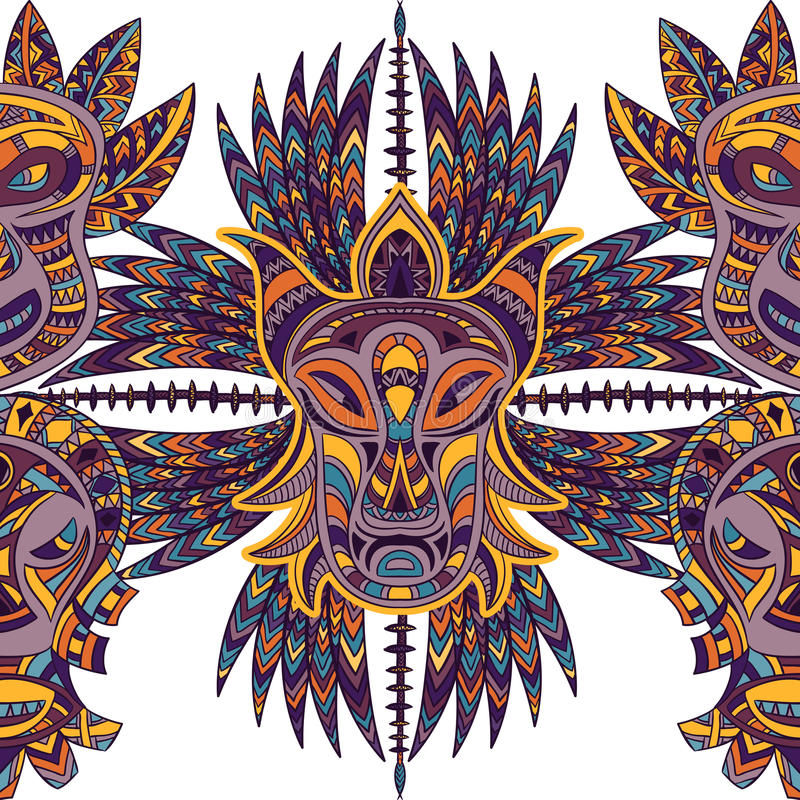 与部族面具和阿兹台克几何拉丁美洲的装饰品的无缝的样式 皇族释放例证