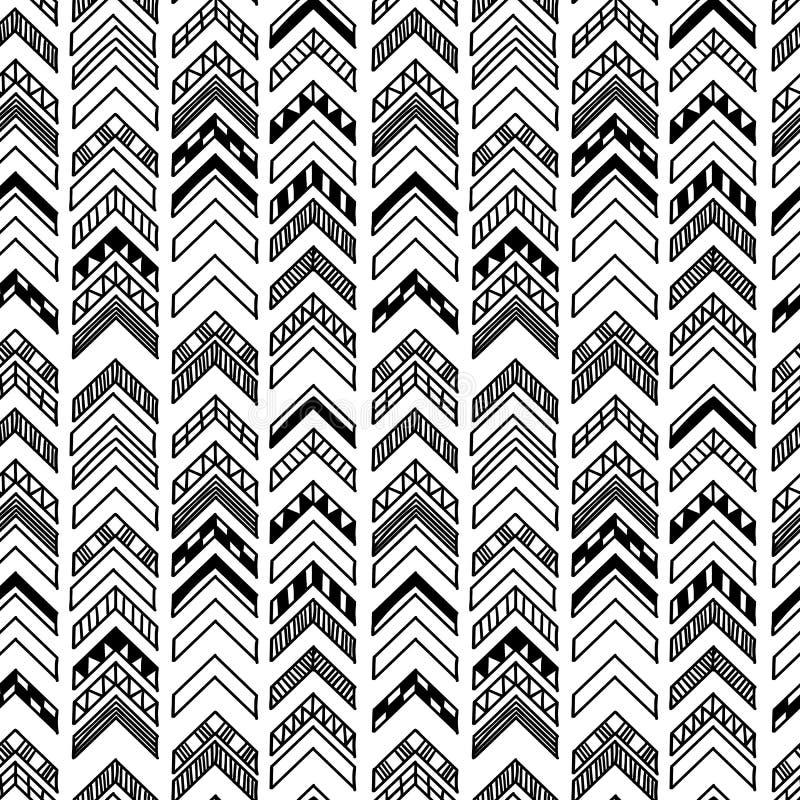 与部族主题的抽象几何无缝的手拉的样式 现代纹理 黑白照片无权背景 皇族释放例证