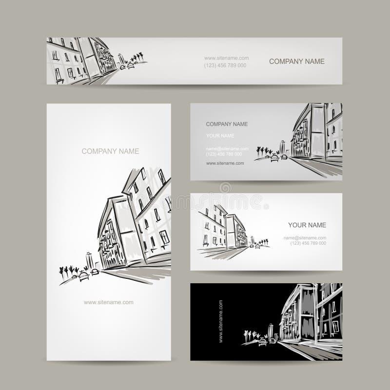 与都市风景剪影的名片设计 库存例证
