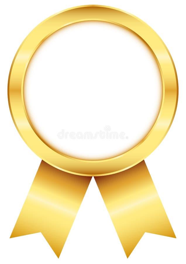 与配比的丝带的金黄圆的奖徽章 库存例证