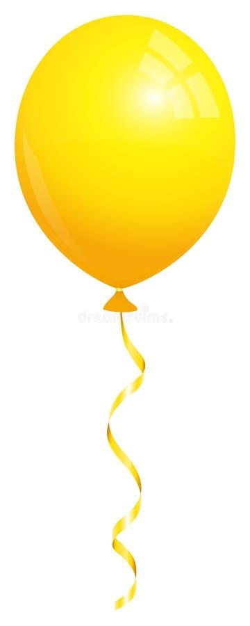 与配比的串的唯一黄色气球飞行 向量例证