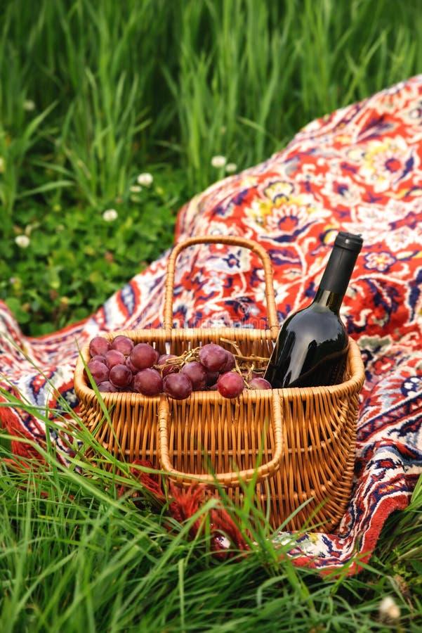 与酒瓶和葡萄的野餐篮子在绿草草坪 免版税库存图片