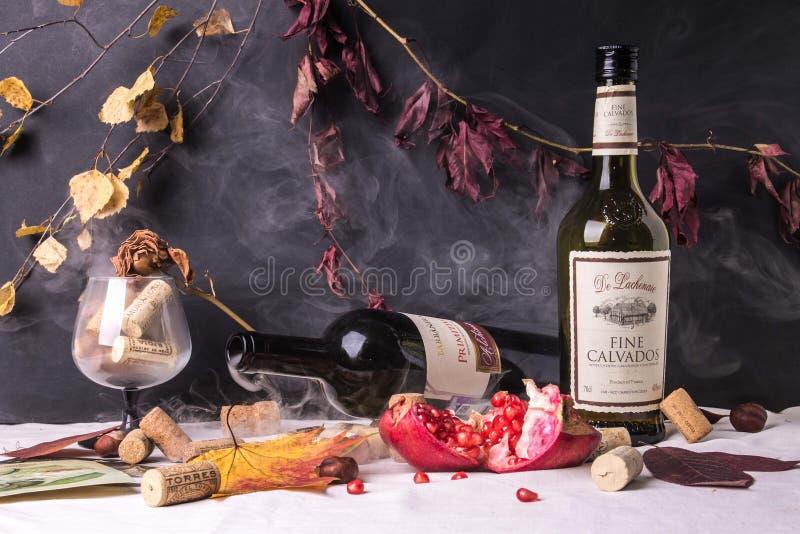 与酒精和石榴的葡萄酒静物画 免版税库存图片