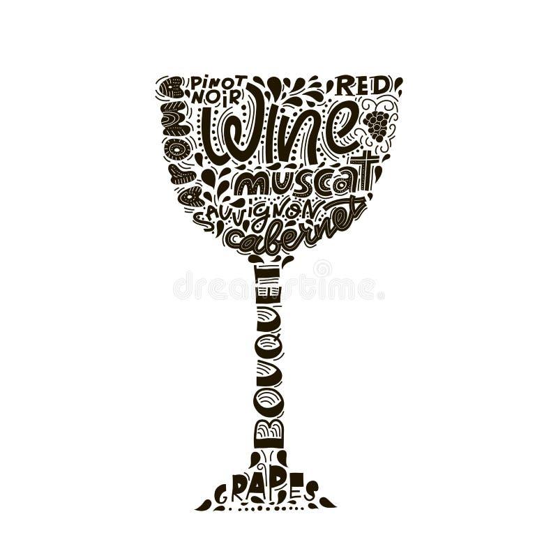 与酒bocal剪影和字法的印刷术手拉的例证 与词组的向量图形标签在玻璃 向量例证