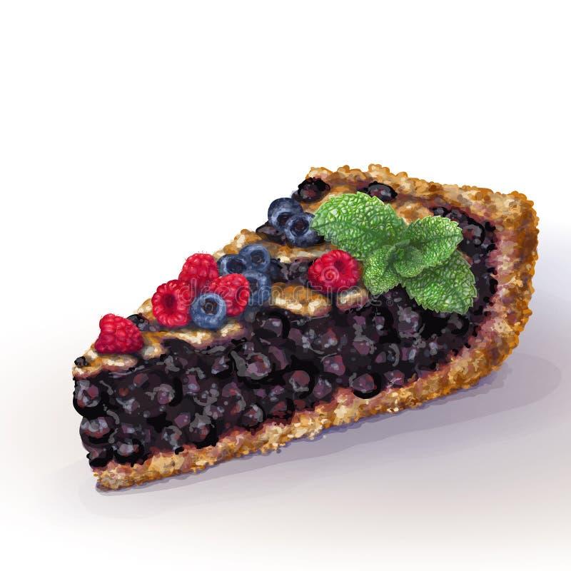 与酥脆脆外壳的传染媒介美国蓝草莓饼和在上面的装饰辫子 水多的复盆果酱,整个莓果 ?? 皇族释放例证