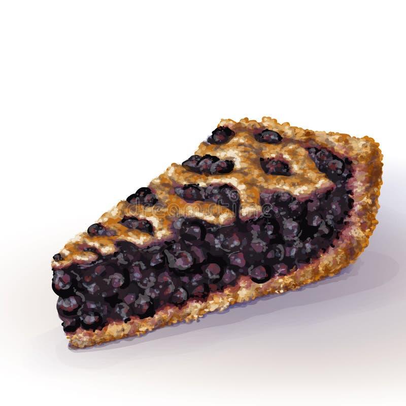 与酥脆脆外壳的传染媒介美国蓝草莓饼和在上面的装饰辫子 水多的蓝莓果酱用整个莓果 库存例证
