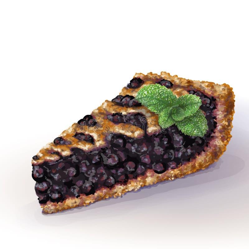 与酥脆脆外壳的传染媒介美国蓝草莓饼和在上面的装饰辫子 水多的蓝莓果酱用整个莓果 向量例证