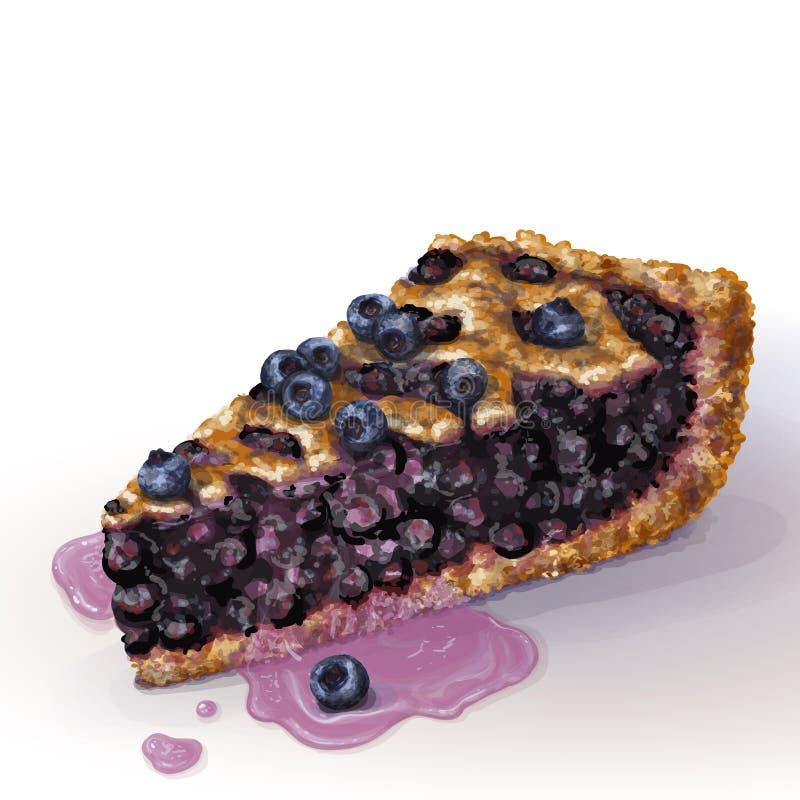 与酥脆脆外壳的传染媒介美国蓝草莓饼和在上面的装饰辫子 水多的蓝莓湿果酱,整个莓果 库存例证