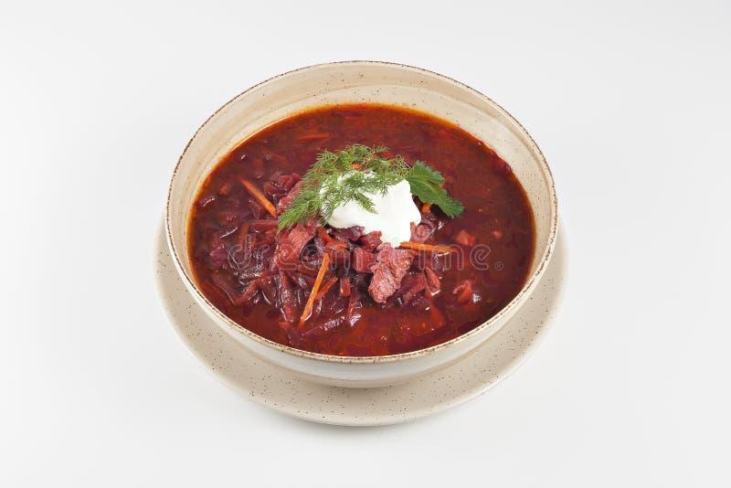 与酸性稀奶油的红色罗宋汤汤 库存图片