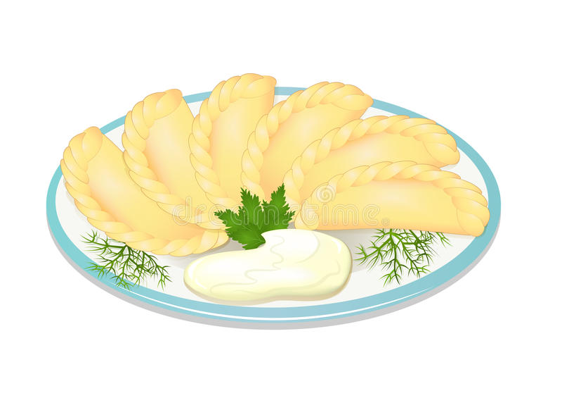 与酸性稀奶油的饺子在牌照 皇族释放例证
