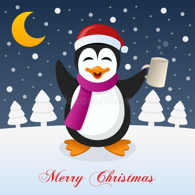 与醉酒的滑稽的企鹅的圣诞夜 向量例证