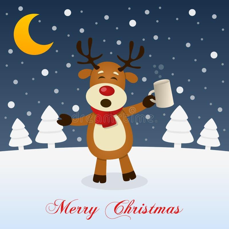 与醉酒的滑稽的驯鹿的圣诞夜 库存例证