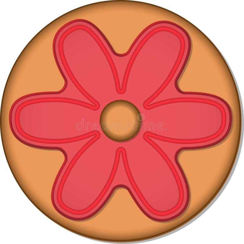与釉的圆的姜曲奇饼 向量例证EPS10 向量例证