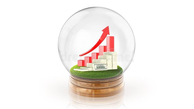 与里面上升的图表和美元的透明球形球 3d翻译 免版税库存照片