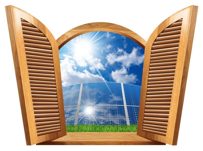 与里面太阳电池板的木窗口 皇族释放例证