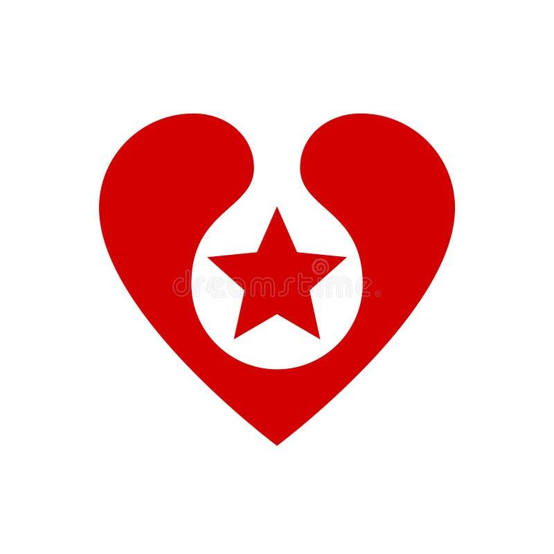 与里面星的红色心脏 传染媒介设计元素、标签或者badg 库存例证