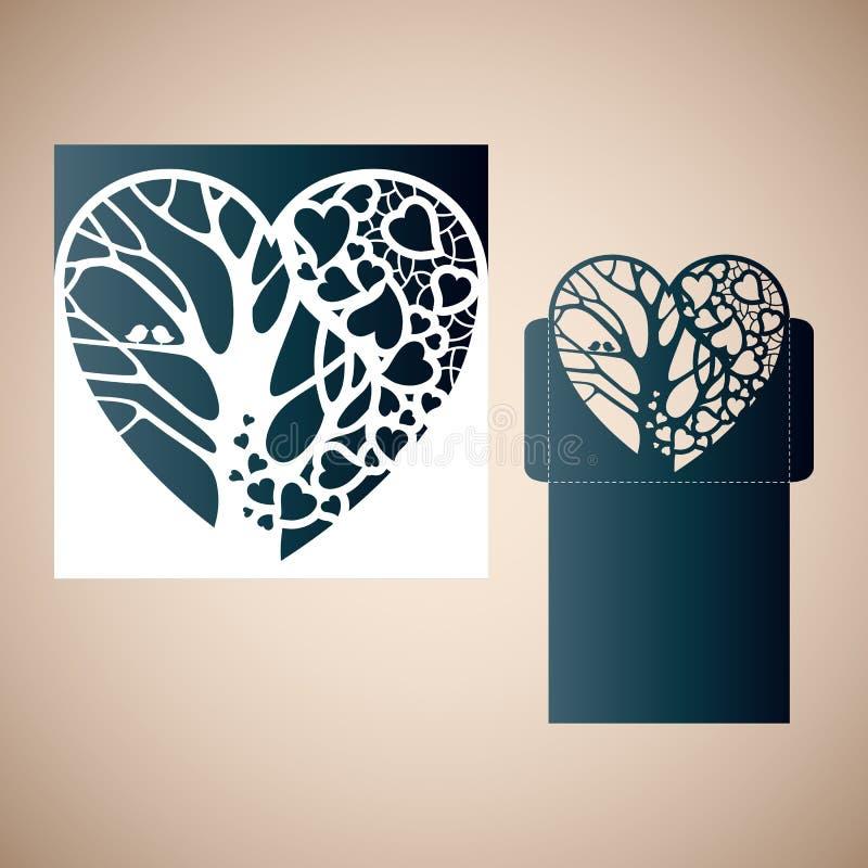 与里面树的透雕细工心脏 库存例证